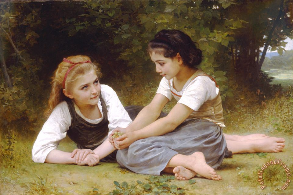 The Nut Gatherers (1882) painting - William Adolphe Bouguereau The Nut Gatherers (1882) Art Print