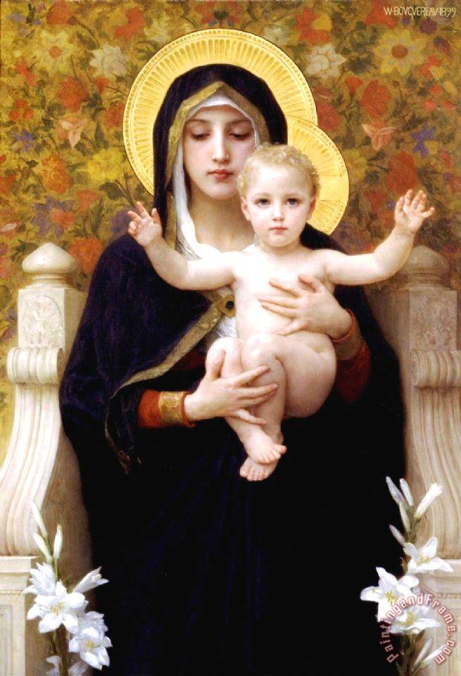 William Adolphe Bouguereau The Virgin of The Lilies Art Print