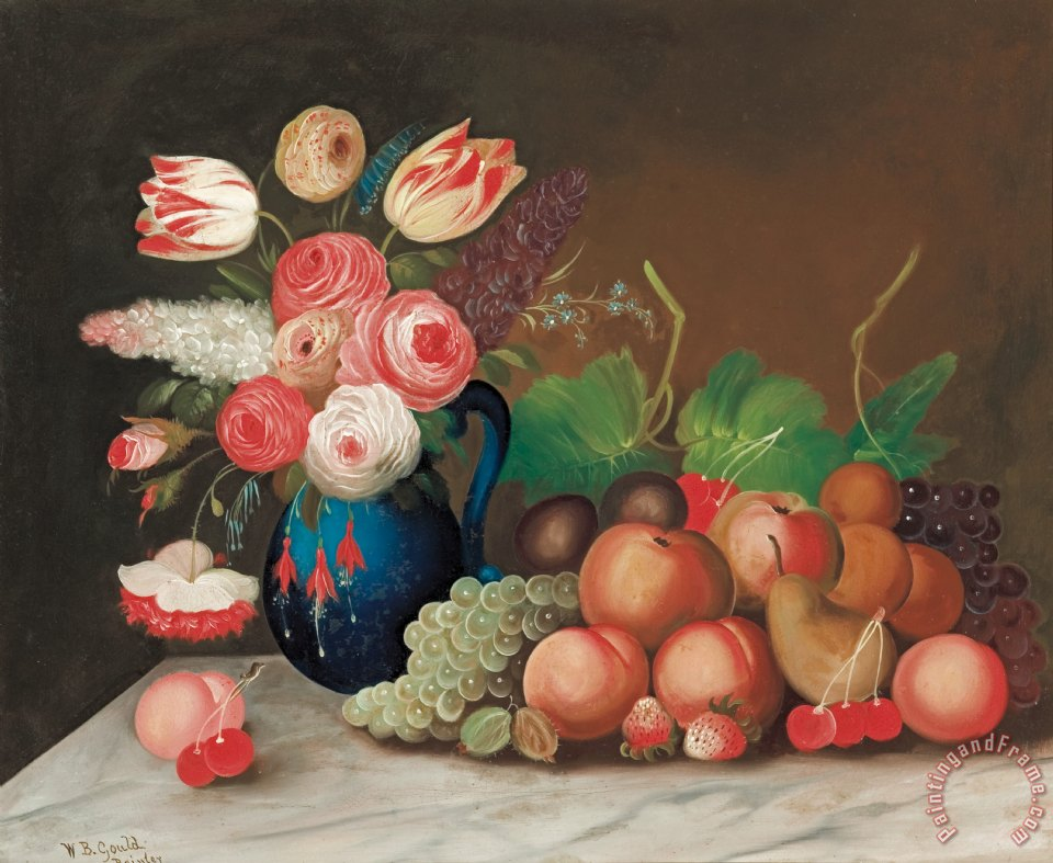 William Buelow Gould Still Life With Fruit And Flowers