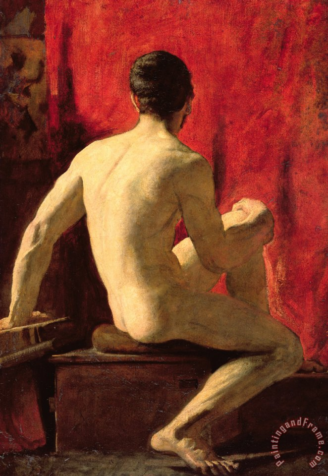 Seated Male Model painting - William Etty Seated Male Model Art Print