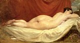 Nude Lying On A Sofa Against A Red Curtain by William Etty