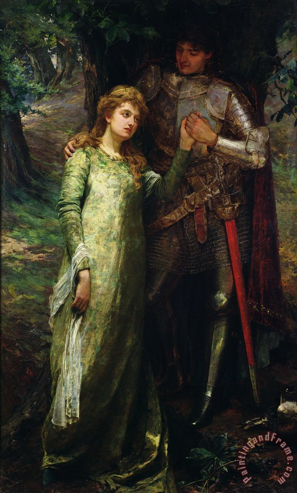 A knight and his lady painting - William G Mackenzie A knight and his lady Art Print