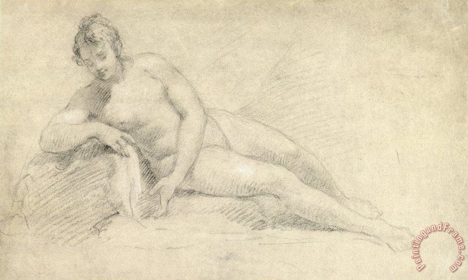 Study of a Female Nude painting - William Hogarth Study of a Female Nude Art Print
