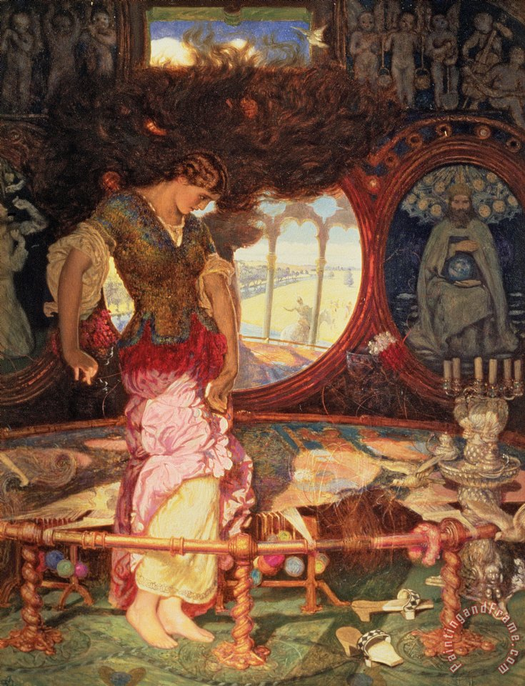 a review of the lady of shalott The first four stanzas of the 1842 poem describe a pastoral setting the lady of shalott lives in an island castle in a river which flows to camelot, but the local.