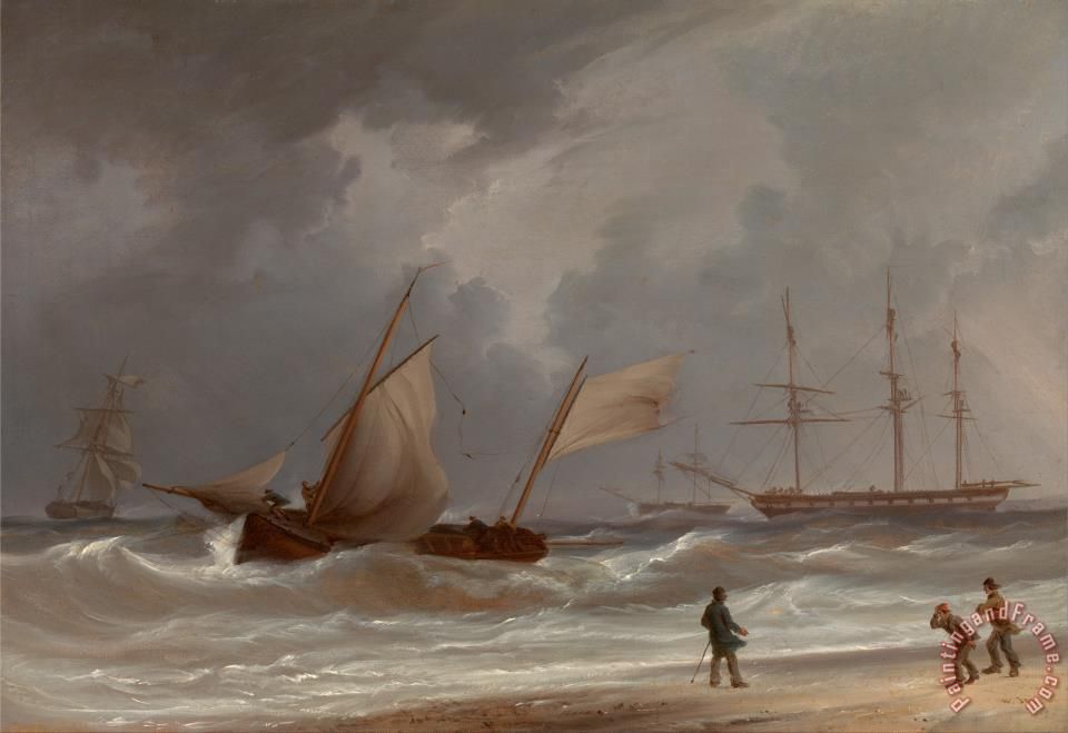 A Lugger Driving Ashore in a Gale painting - William Joy A Lugger Driving Ashore in a Gale Art Print