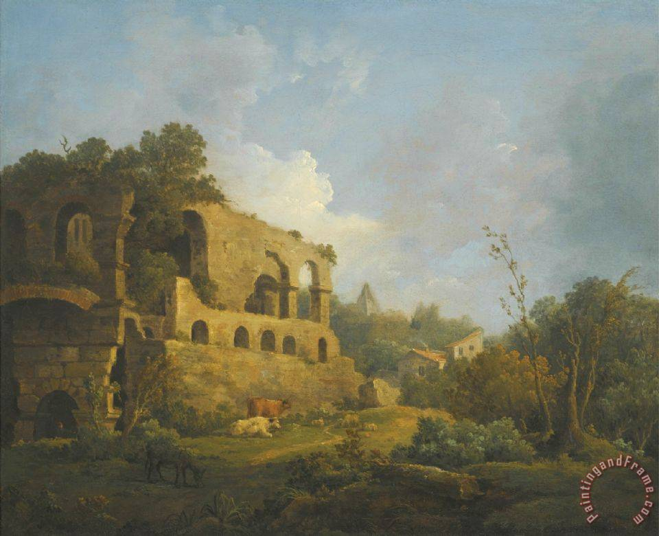 Landscape with Classical Ruins Outside Rome with The Pyramid of Cestius Beyond painting - William Marlow Landscape with Classical Ruins Outside Rome with The Pyramid of Cestius Beyond Art Print