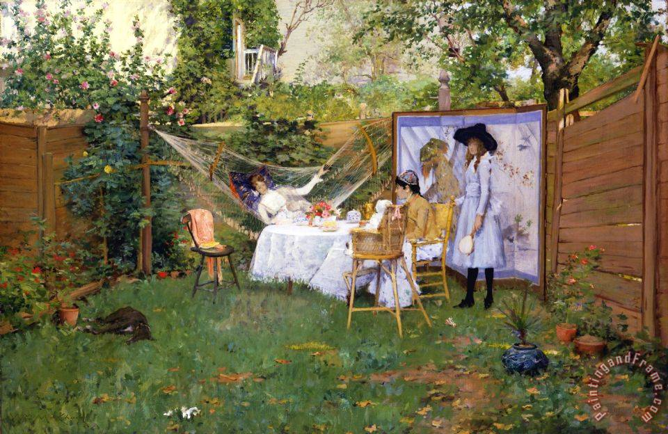 Open Air Breakfast painting - William Merritt Chase Open Air Breakfast Art Print
