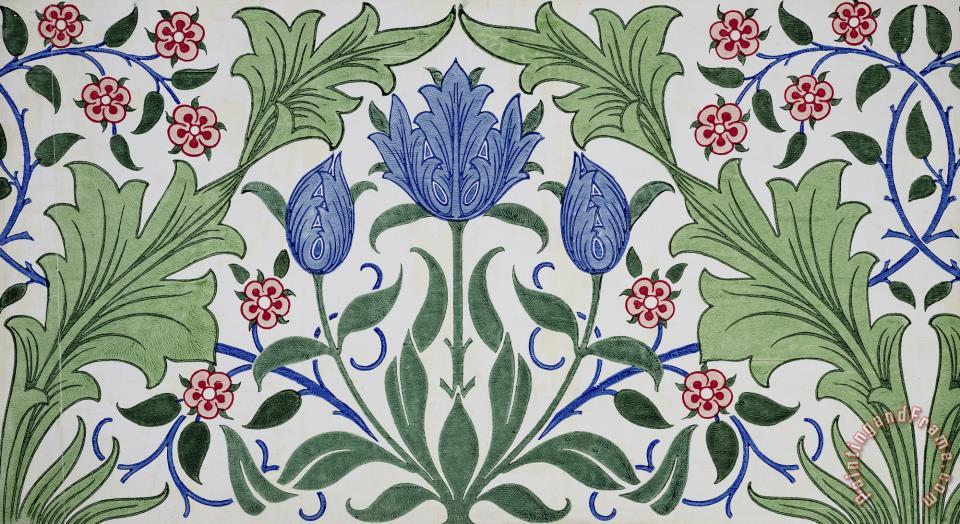William Morris Floral Wallpaper Design With Tulips Art