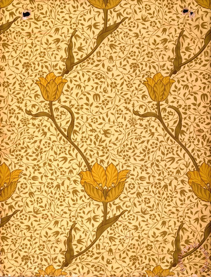 William Morris Garden Tulip Wallpaper Design Art Painting