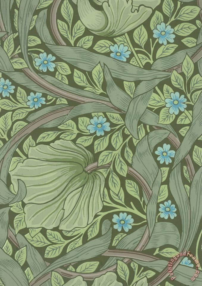 wallpaper sample with forget me nots - Jugendstil Tapete