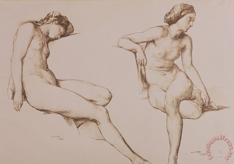 William Mulready Sepia Drawing of Nude Woman Art Print