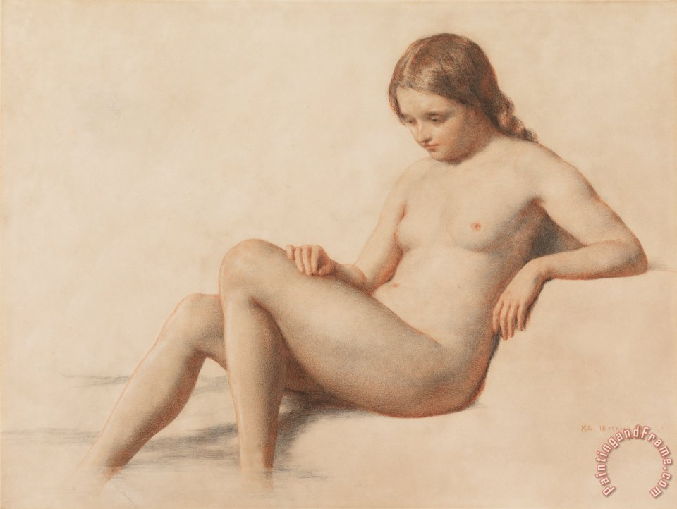 Study of a Nude painting - William Mulready Study of a Nude Art Print