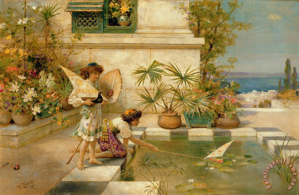 William stephen coleman children playing with boats for Paintings of toddlers