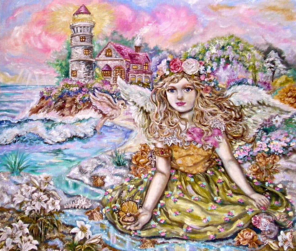 The Angel of The Pearl Shellfish painting - Yumi Sugai The Angel of The Pearl Shellfish Art Print